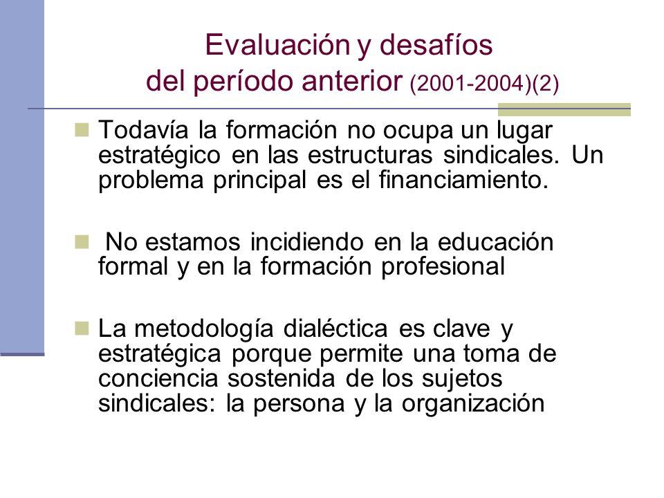 Evaluación y desafíos del período anterior (2001-2004)(2) Todavía la formación no ocupa un lugar estratégico en las estructuras sindicales. Un problem