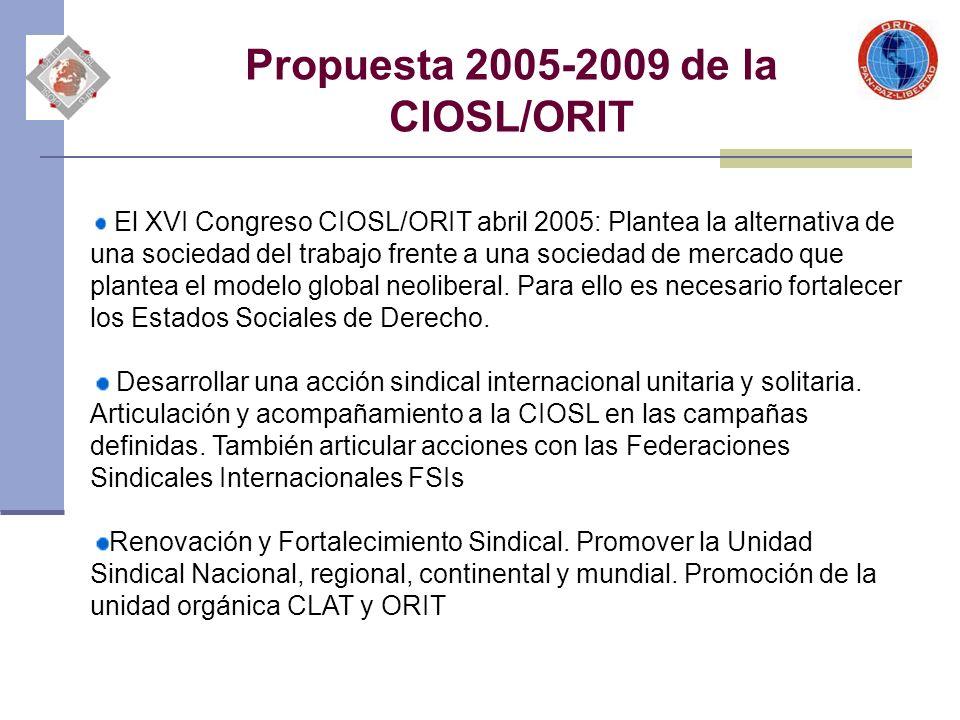 Propuesta 2005-2009 de la CIOSL/ORIT El XVI Congreso CIOSL/ORIT abril 2005: Plantea la alternativa de una sociedad del trabajo frente a una sociedad d