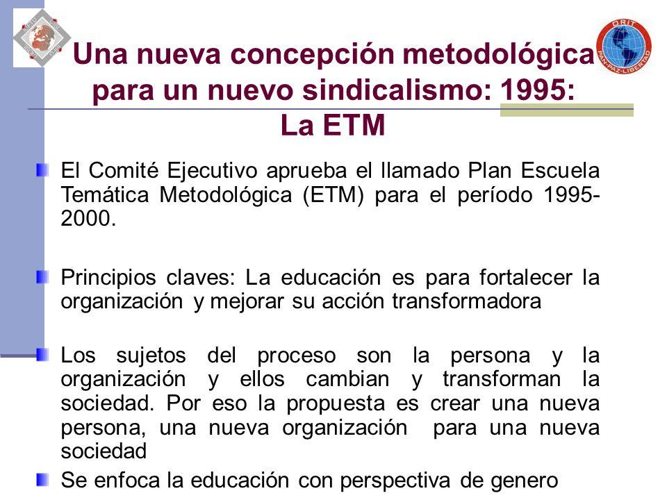 Una nueva concepción metodológica para un nuevo sindicalismo: 1995: La ETM El Comité Ejecutivo aprueba el llamado Plan Escuela Temática Metodológica (