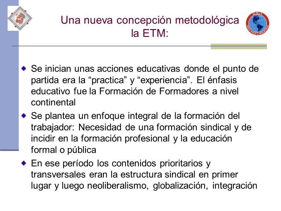 Una nueva concepción metodológica la ETM: Se inician unas acciones educativas donde el punto de partida era la practica y experiencia. El énfasis educ