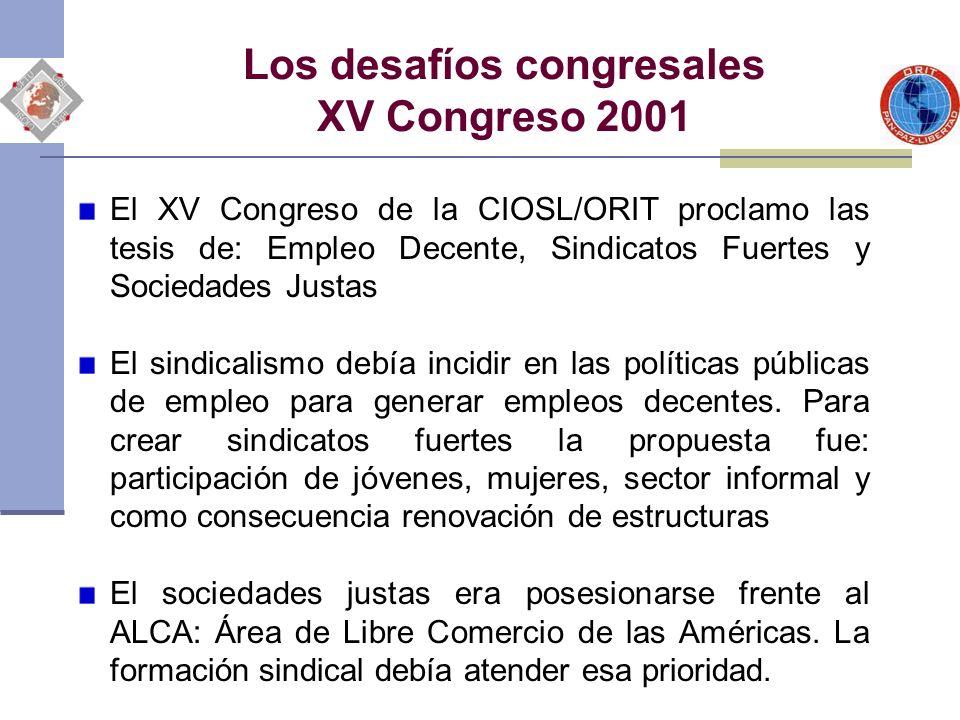 Los desafíos congresales XV Congreso 2001 El XV Congreso de la CIOSL/ORIT proclamo las tesis de: Empleo Decente, Sindicatos Fuertes y Sociedades Justa