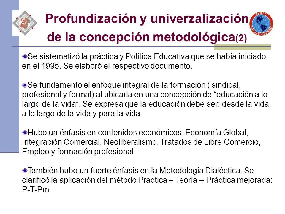 Profundización y univerzalización de la concepción metodológica (2) Se sistematizó la práctica y Política Educativa que se había iniciado en el 1995.