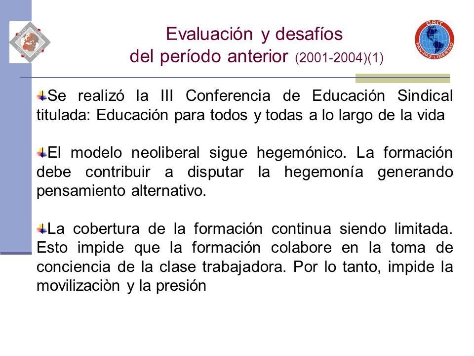 Evaluación y desafíos del período anterior (2001-2004)(1) Se realizó la III Conferencia de Educación Sindical titulada: Educación para todos y todas a