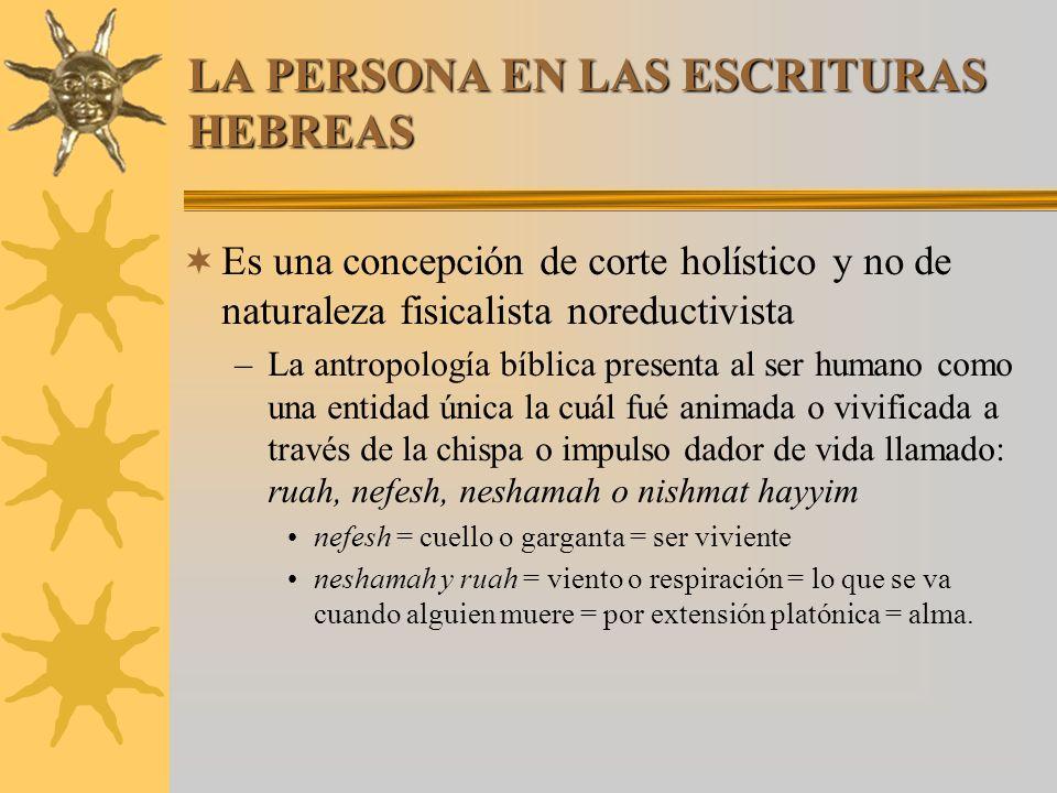 LA PERSONA EN LAS ESCRITURAS HEBREAS Es una concepción de corte holístico y no de naturaleza fisicalista noreductivista –La antropología bíblica prese