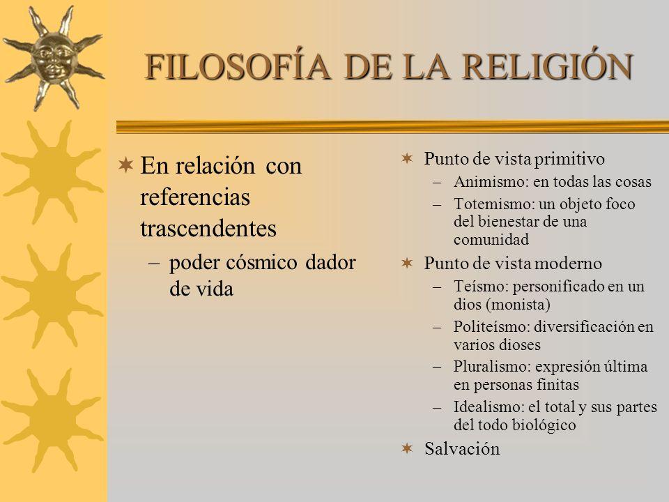 FILOSOFÍA DE LA RELIGIÓN En relación con referencias trascendentes –poder cósmico dador de vida Punto de vista primitivo –Animismo: en todas las cosas