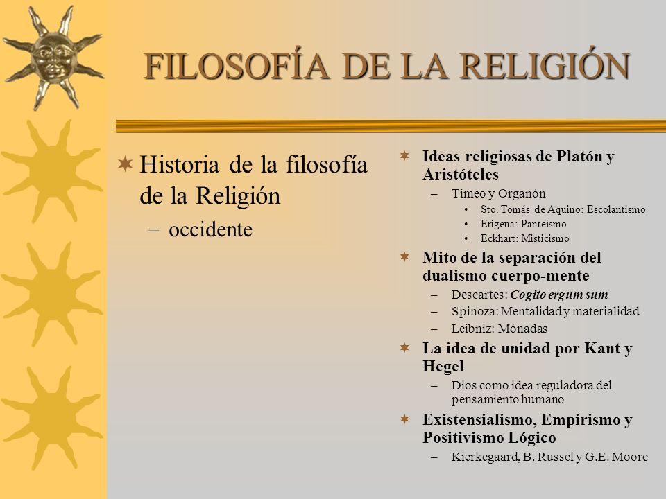 FILOSOFÍA DE LA RELIGIÓN Historia de la filosofía de la Religión –occidente Ideas religiosas de Platón y Aristóteles –Timeo y Organón Sto. Tomás de Aq