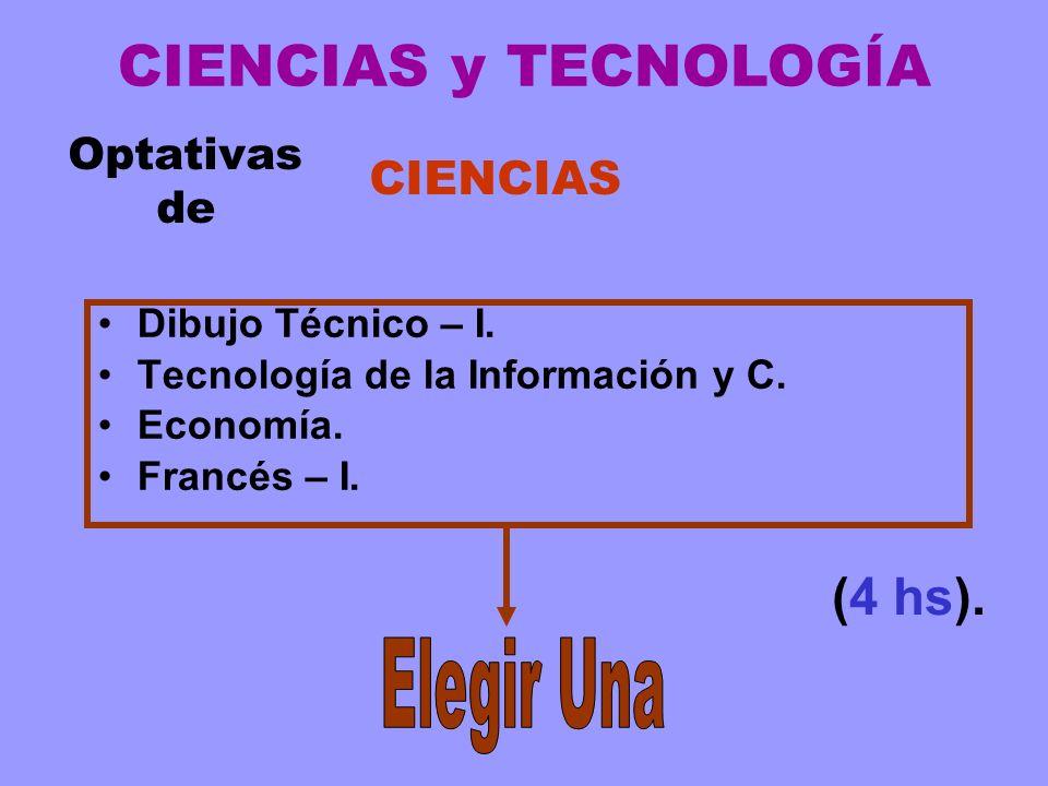 Optativas de Dibujo Técnico – I. Tecnología de la Información y C. Economía. Francés – I. (4 hs). CIENCIAS y TECNOLOGÍA CIENCIAS