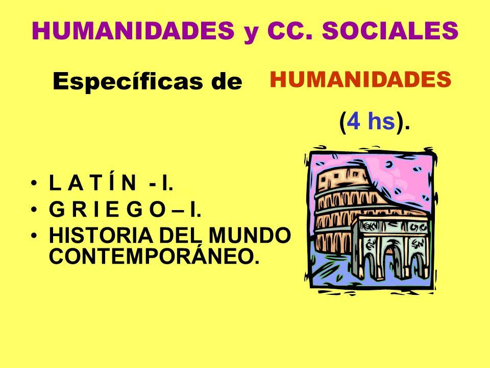 L A T Í N - I. G R I E G O – I. HISTORIA DEL MUNDO CONTEMPORÁNEO. Específicas de HUMANIDADES (4 hs). HUMANIDADES y CC. SOCIALES
