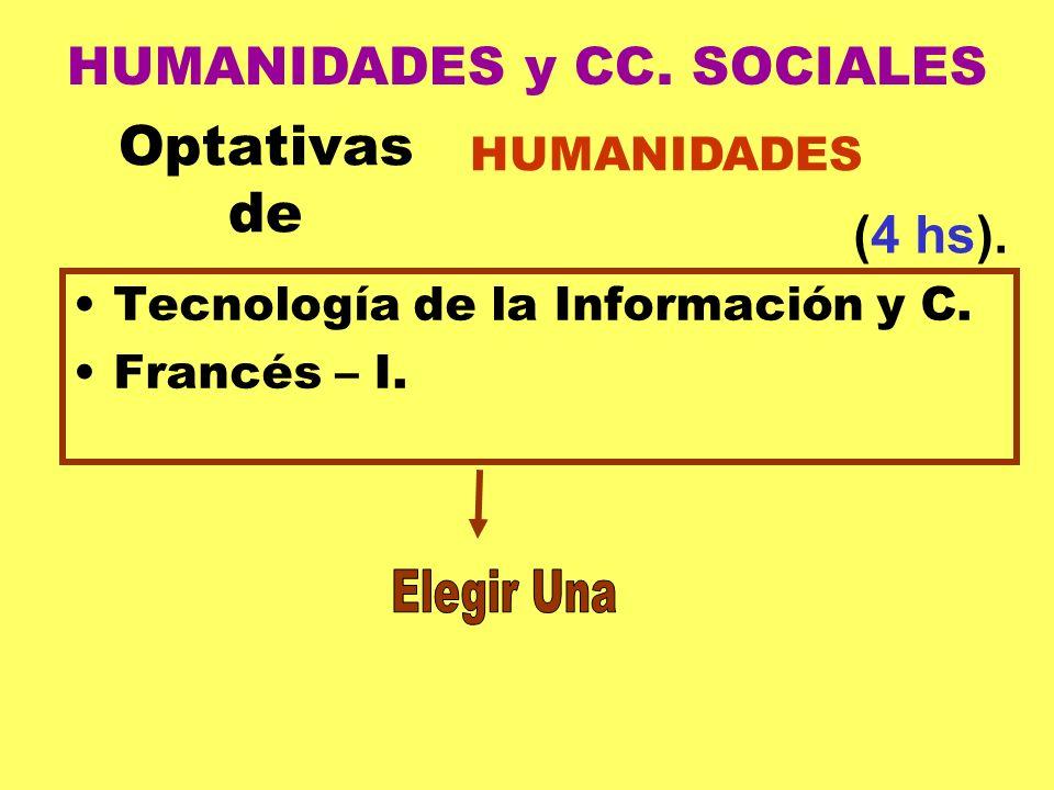 Optativas de Tecnología de la Información y C. Francés – I. HUMANIDADES (4 hs). HUMANIDADES y CC. SOCIALES