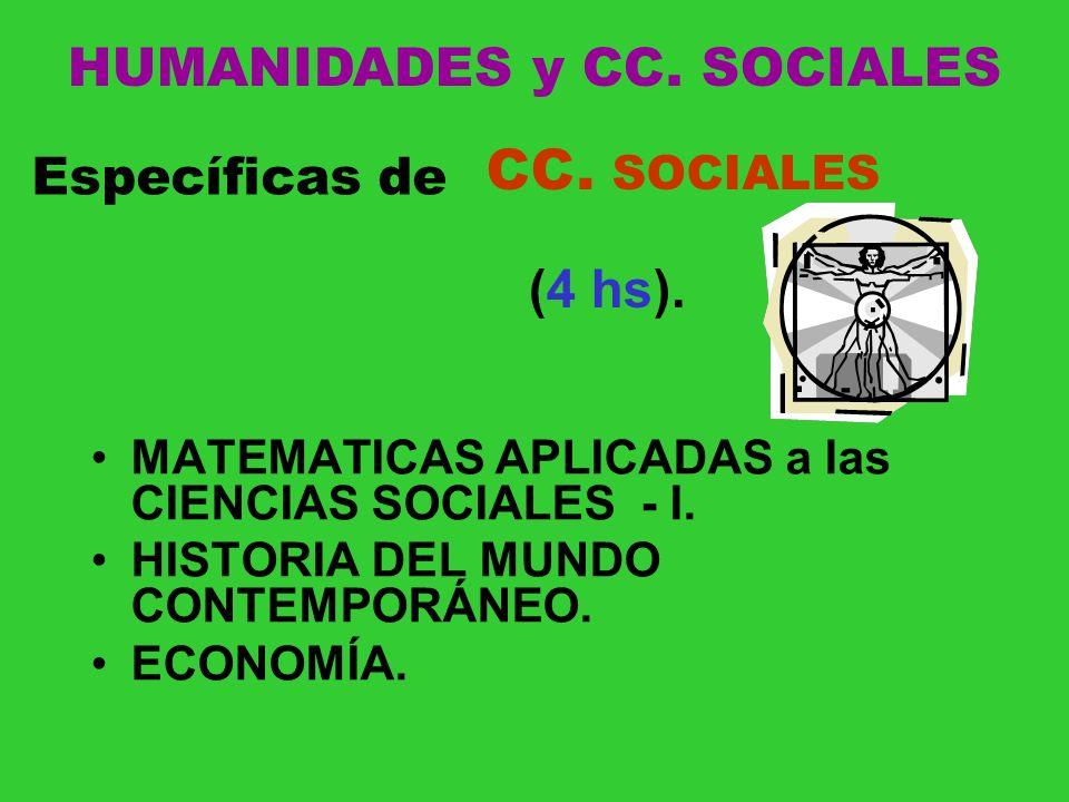 MATEMATICAS APLICADAS a las CIENCIAS SOCIALES - I. HISTORIA DEL MUNDO CONTEMPORÁNEO. ECONOMÍA. Específicas de CC. SOCIALES (4 hs). HUMANIDADES y CC. S