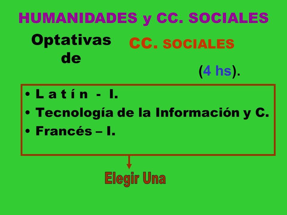 Optativas de L a t í n - I. Tecnología de la Información y C. Francés – I. CC. SOCIALES (4 hs). HUMANIDADES y CC. SOCIALES