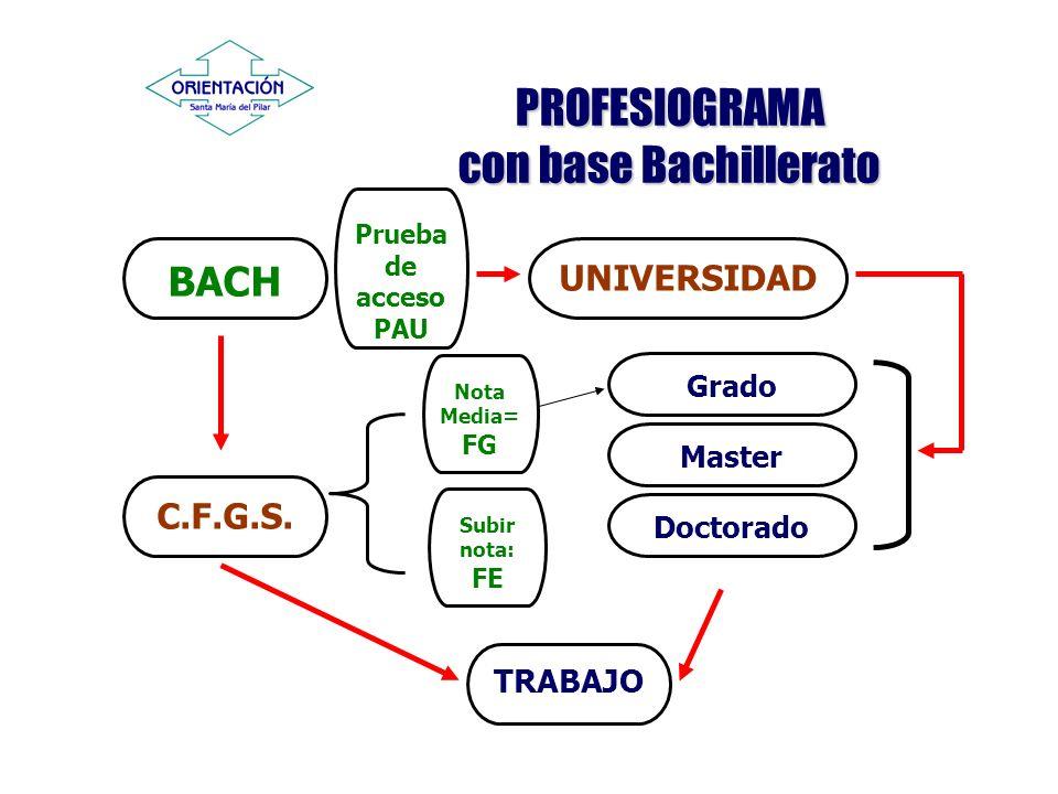 PROFESIOGRAMA con base Bachillerato BACH UNIVERSIDAD C.F.G.S. Grado Prueba de acceso PAU TRABAJO Master Doctorado Nota Media= FG Subir nota: FE