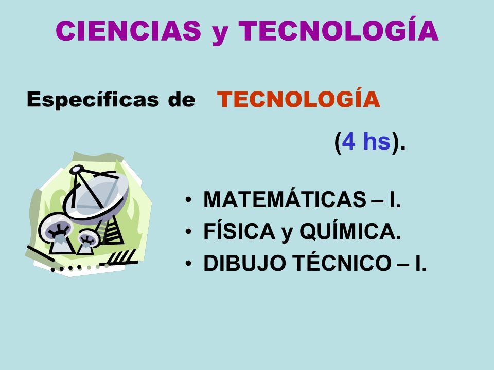 CIENCIAS y TECNOLOGÍA MATEMÁTICAS – I. FÍSICA y QUÍMICA. DIBUJO TÉCNICO – I. Específicas de TECNOLOGÍA (4 hs).