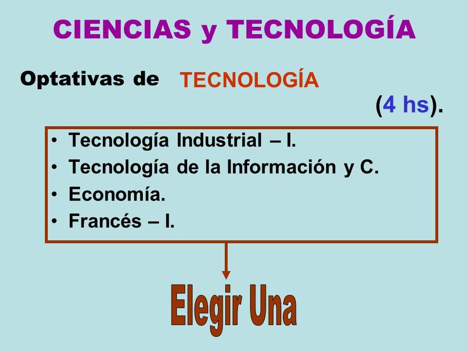 Optativas de Tecnología Industrial – I. Tecnología de la Información y C. Economía. Francés – I. TECNOLOGÍA (4 hs). CIENCIAS y TECNOLOGÍA