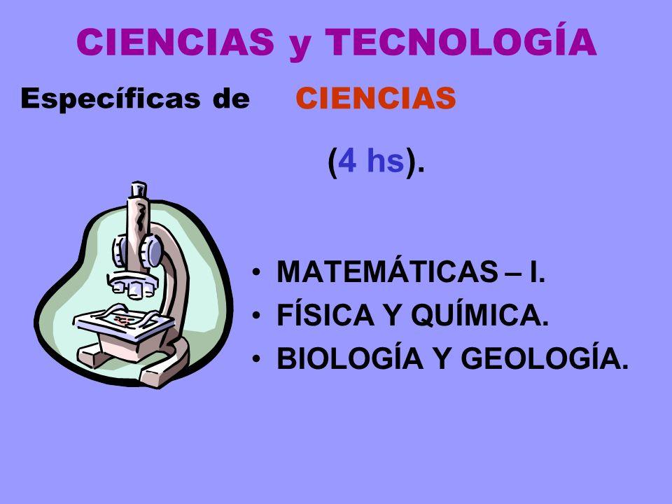 MATEMÁTICAS – I. FÍSICA Y QUÍMICA. BIOLOGÍA Y GEOLOGÍA. Específicas de CIENCIAS (4 hs). CIENCIAS y TECNOLOGÍA