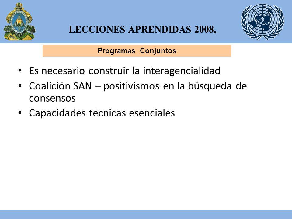 LECCIONES APRENDIDAS 2008, Programas Conjuntos Es necesario construir la interagencialidad Coalición SAN – positivismos en la búsqueda de consensos Capacidades técnicas esenciales
