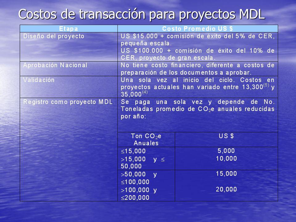El ciclo del proyecto MDL y los Costos de transacción
