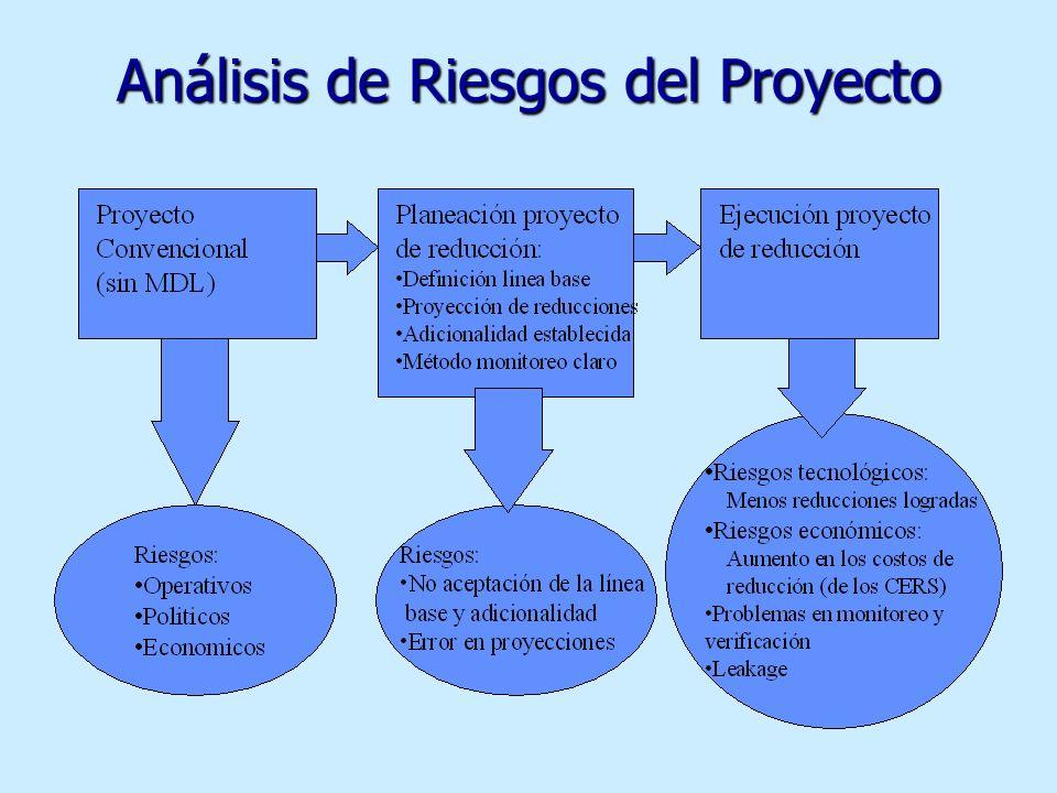 Riesgos del la Inversión Extranjera Directa en proyectos MDL: Riesgos de preimplementación Riesgo paísRiesgo de proyecto Incertidumbre sobre procedimi