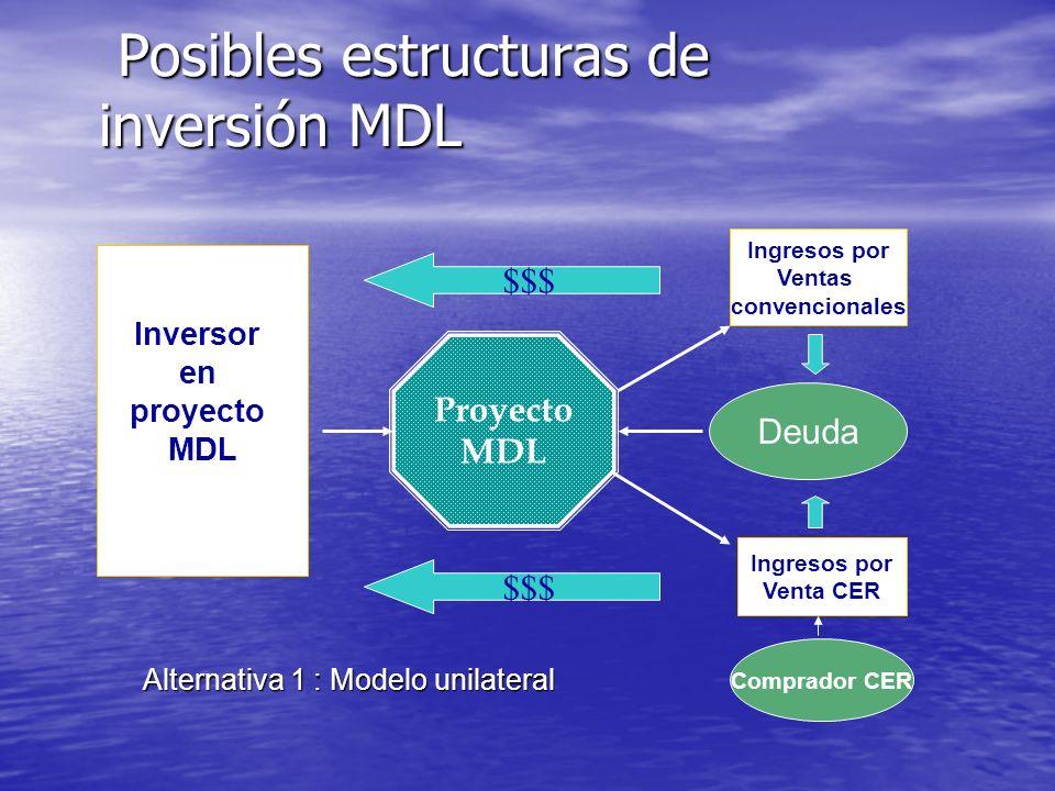 La Financiación del MDL Contrato a futuro, con posibles fórmulas de ajuste en precio Contrato a futuro, con posibles fórmulas de ajuste en precio –El