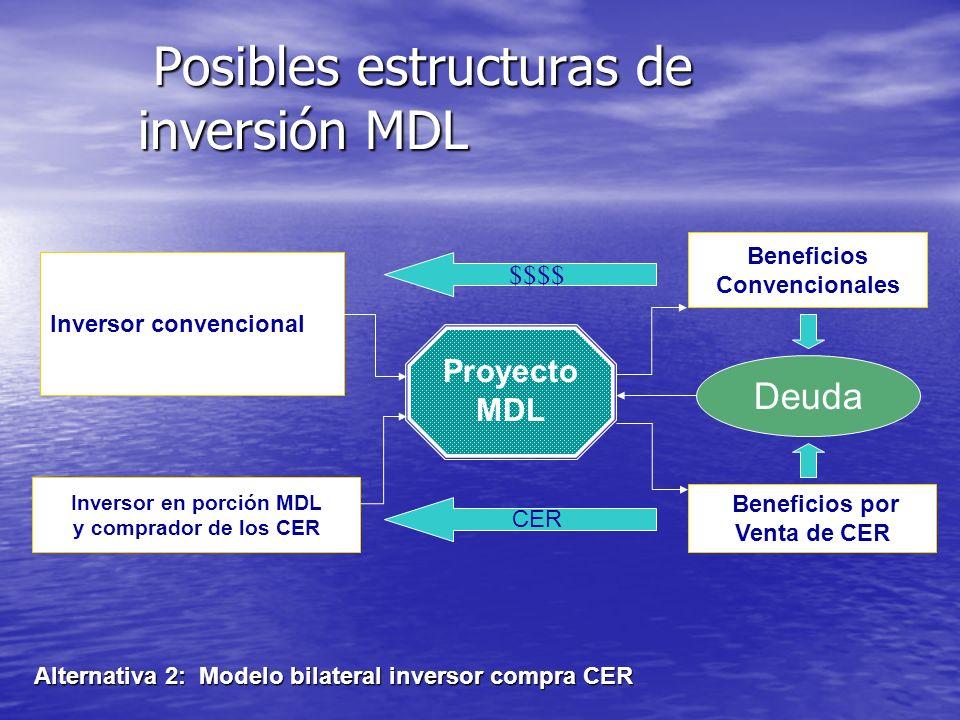 Posibles estructuras de inversión MDL Posibles estructuras de inversión MDL Alternativa 1 : Modelo unilateral Proyecto MDL Ingresos por Ventas convenc