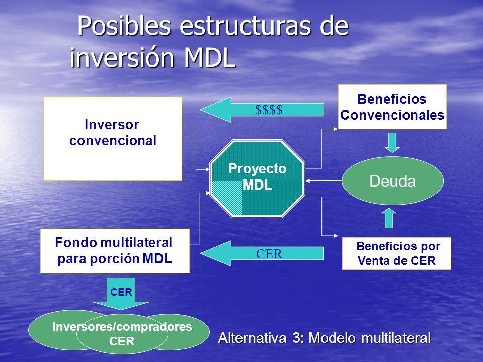 Posibles estructuras de inversión MDL Posibles estructuras de inversión MDL Alternativa 2: Modelo bilateral inversor compra CER Proyecto MDL Beneficio