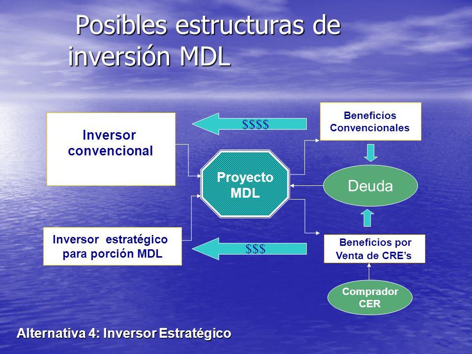 Posibles estructuras de inversión MDL Posibles estructuras de inversión MDL Alternativa 3: Modelo multilateral Proyecto MDL Beneficios Convencionales