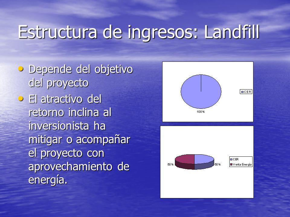 Estructura de Inversión: Landfill (caso excepcional) La estructura depende de la finalidad del proyecto y las opciones que perciben los inversionistas