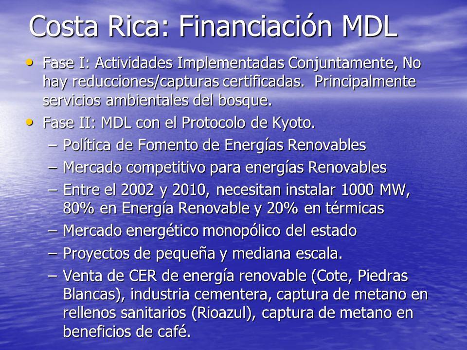 Costa Rica: Financiación MDL Ventas de certificados a: Ventas de certificados a: –CERUPT –PCF –Finlandia –Noruega (Actividades Implementadas Conjuntam