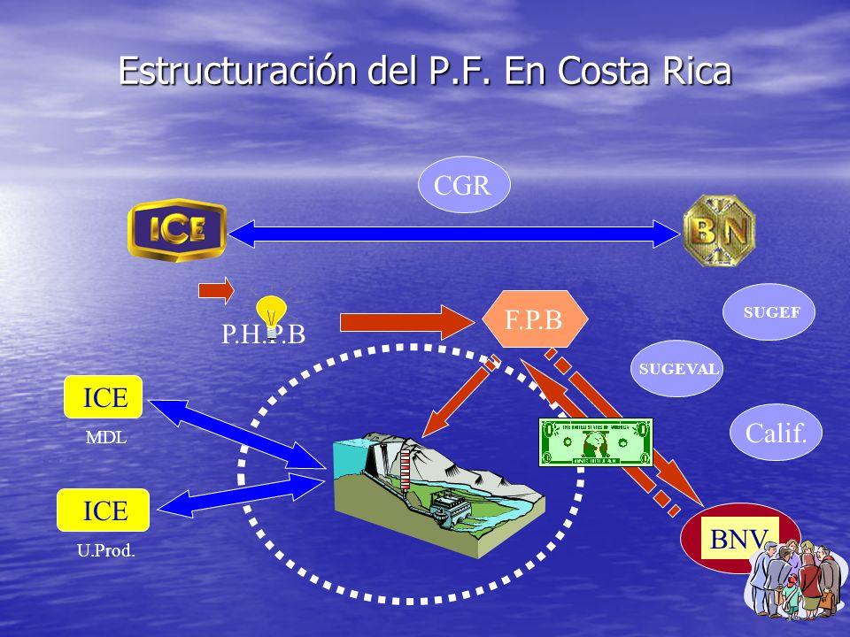 Organización de un P.Finance: Costa Rica Empresa Proyecto Gestor Ing.& Const. OperadorComprador Capital Deuda Proveedores Estructurador Acuerdos de se