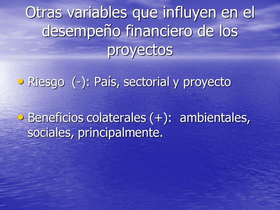 Otras variables que influyen en el desempeño financiero de los proyectos Riesgo (-): País, sectorial y proyecto Riesgo (-): País, sectorial y proyecto Beneficios colaterales (+): ambientales, sociales, principalmente.