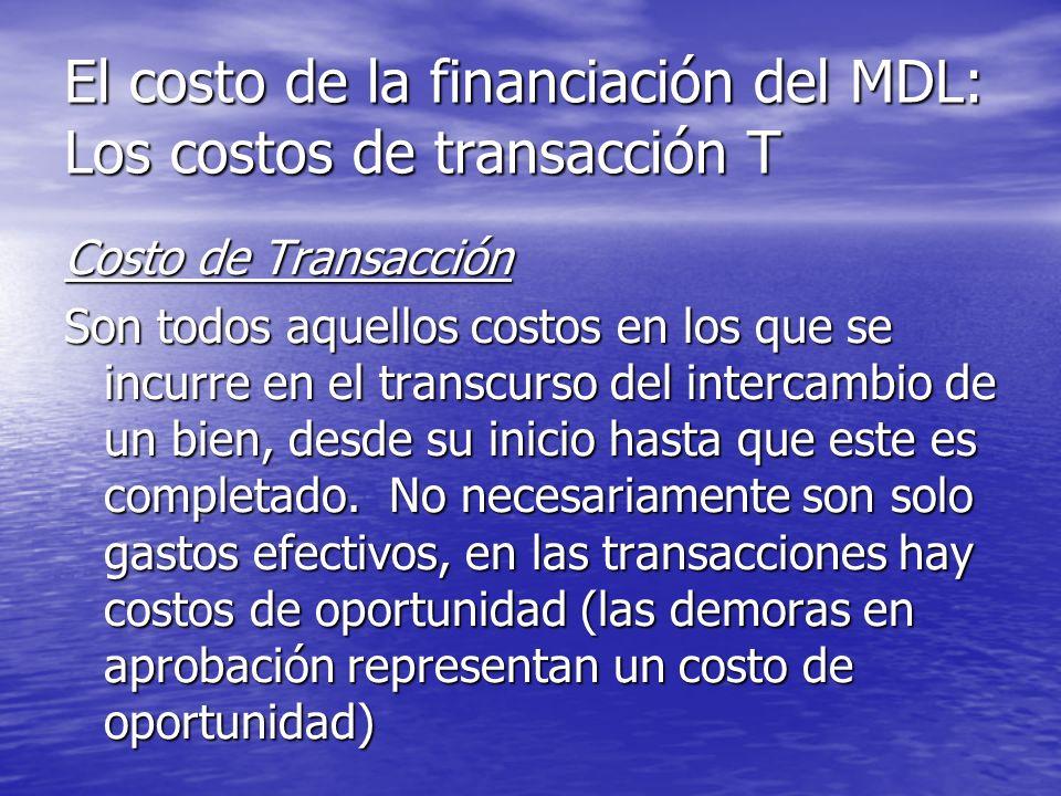 El costo de la financiación del MDL: Los costos de transacción T Costo de Transacción Son todos aquellos costos en los que se incurre en el transcurso del intercambio de un bien, desde su inicio hasta que este es completado.