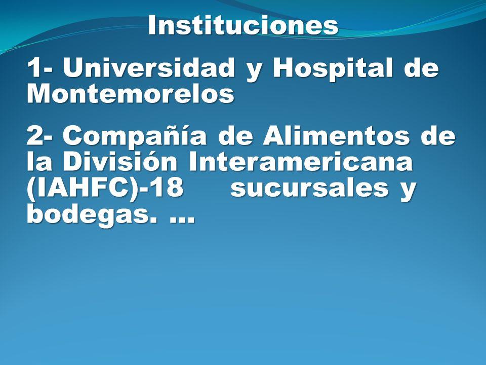 Instituciones 1- Universidad y Hospital de Montemorelos 2- Compañía de Alimentos de la División Interamericana (IAHFC)-18 sucursales y bodegas. …