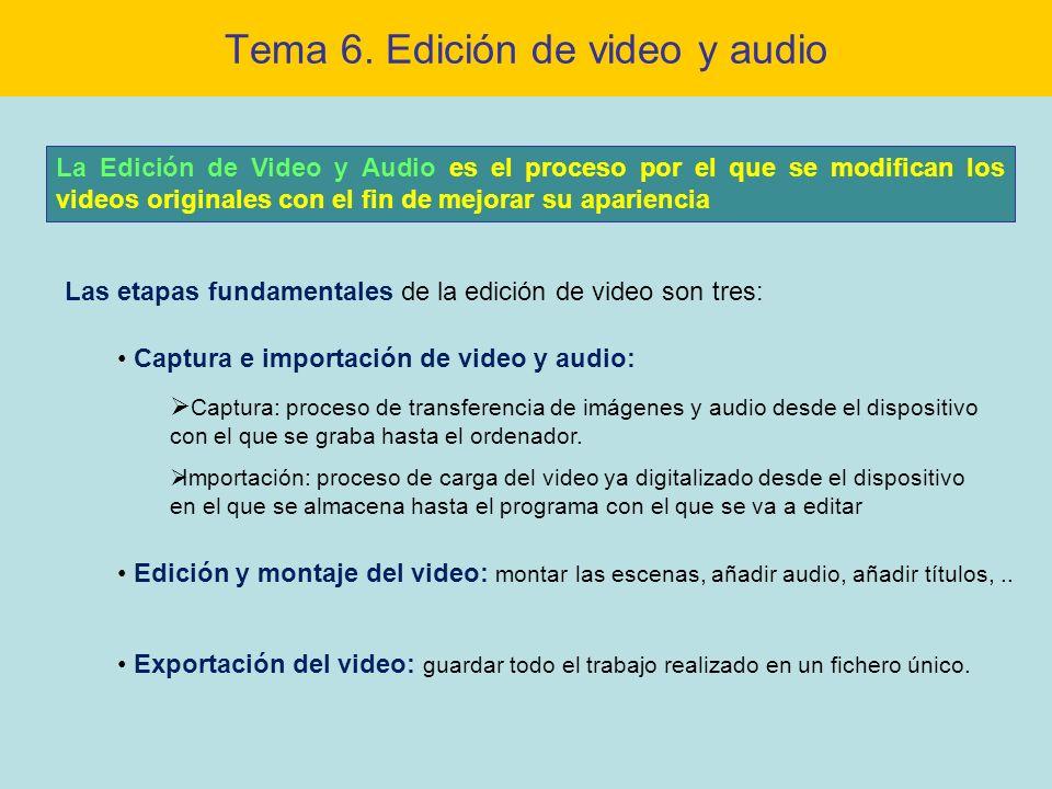 Tema 6. Edición de video y audio La Edición de Video y Audio es el proceso por el que se modifican los videos originales con el fin de mejorar su apar