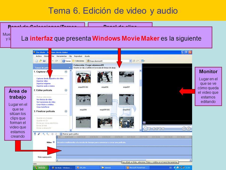 Tema 6. Edición de video y audio Área de trabajo Lugar en el que se sitúan los clips que forman el video que estamos creando Monitor Lugar en el que s