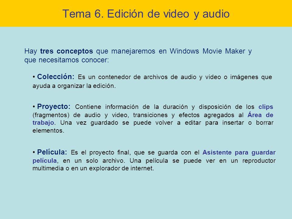 Tema 6. Edición de video y audio Colección: Es un contenedor de archivos de audio y video o imágenes que ayuda a organizar la edición. Proyecto: Conti