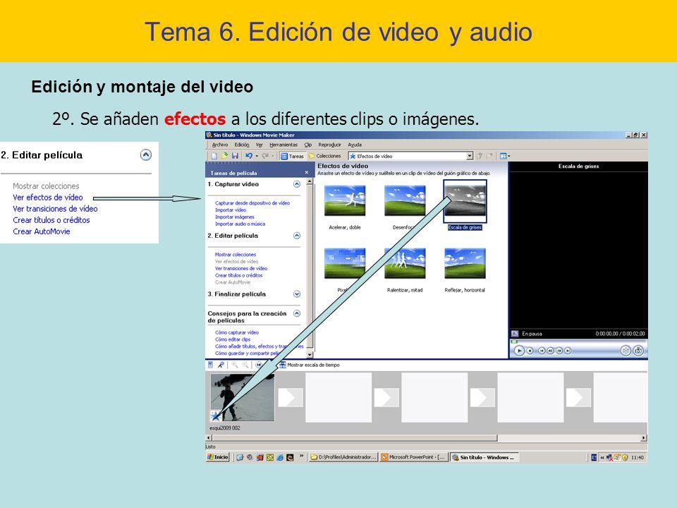 Tema 6. Edición de video y audio Edición y montaje del video 2º. Se añaden efectos a los diferentes clips o imágenes.