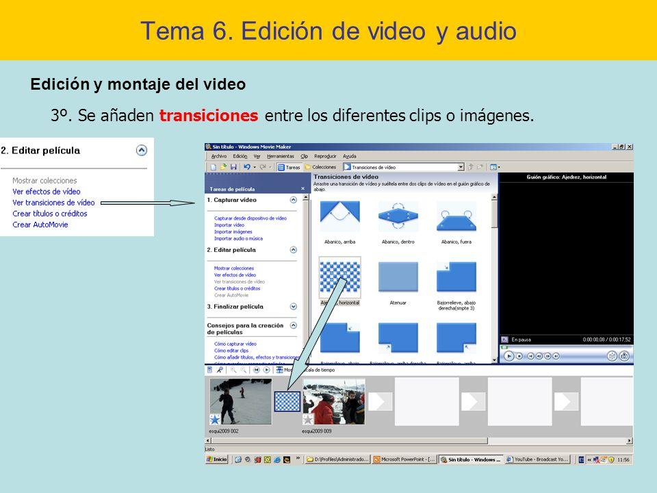 Tema 6. Edición de video y audio Edición y montaje del video 3º. Se añaden transiciones entre los diferentes clips o imágenes.
