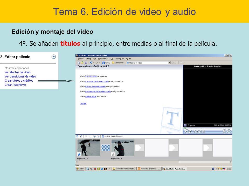 Tema 6. Edición de video y audio Edición y montaje del video 4º. Se añaden títulos al principio, entre medias o al final de la película.