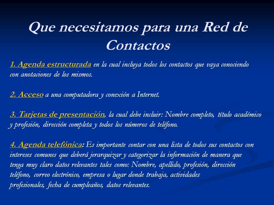 Contacto clave Nuevo Contacto Etc….. Empleo Estructura de una Red