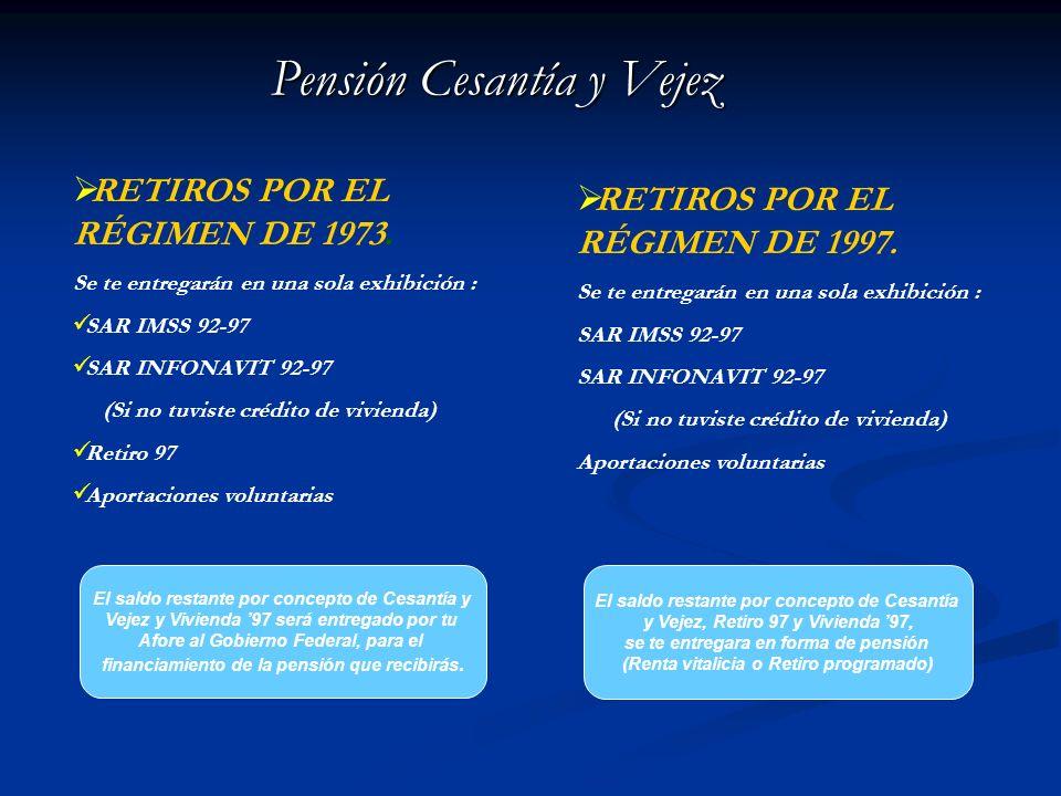 Pensión Cesantía y Vejez Existen en México dos tipos de Regímenes por los que el IMSS pensiona a los trabajadores. Estos aplican según los años es los