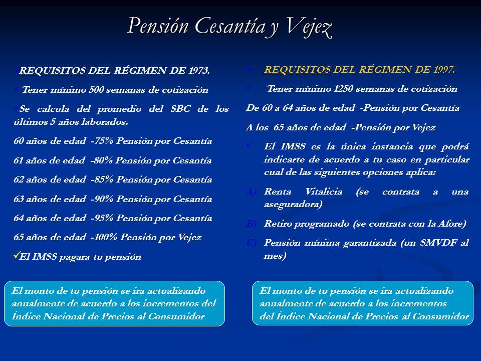 Pensión Cesantía y Vejez RETIROS POR EL RÉGIMEN DE 1973. Se te entregarán en una sola exhibición : SAR IMSS 92-97 SAR INFONAVIT 92-97 (Si no tuviste c