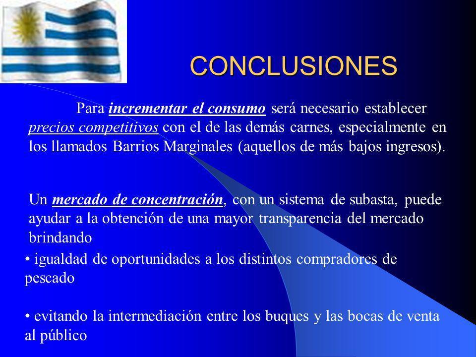 CONCLUSIONES El consumo de pescados y productos en Montevideo fue de 14.195 toneladas en el año 2006, lo que equivale a un consumo anual per cápita de