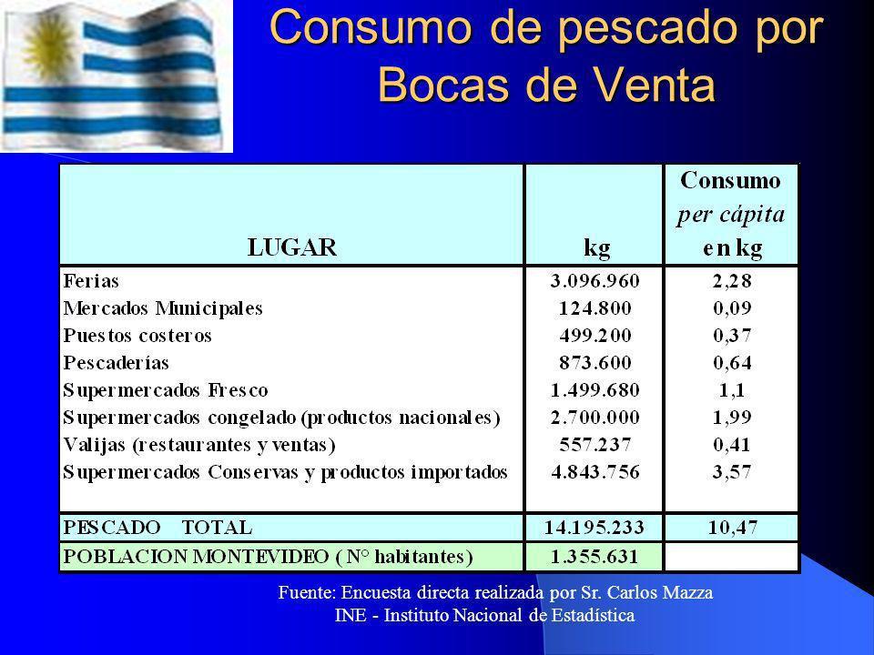 Principales canales de distribución Fuente: Intendencia Municipal de Montevideo DI.NA.RA., Sector Comercialización