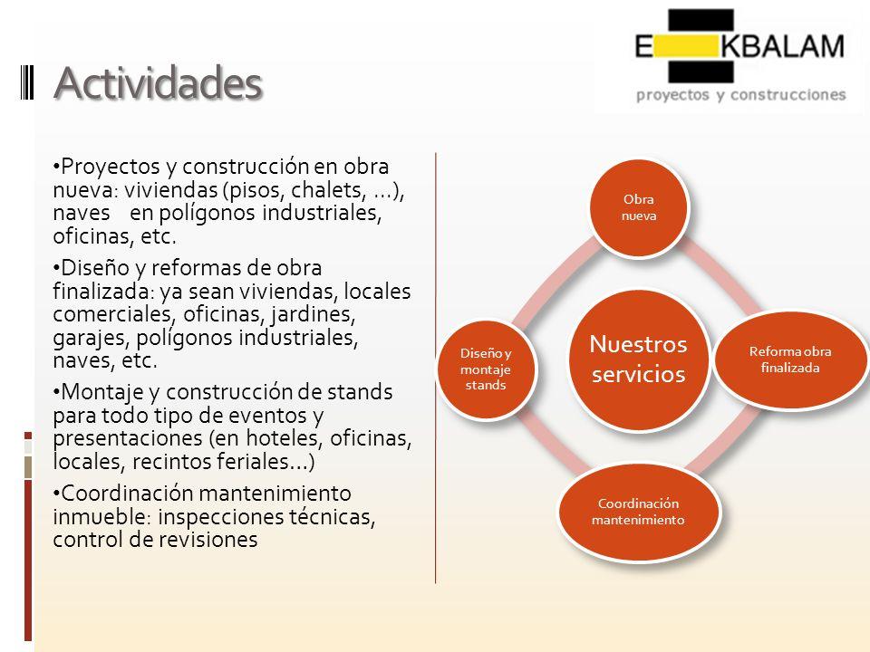 Actividades Proyectos y construcción en obra nueva: viviendas (pisos, chalets,...), naves en polígonos industriales, oficinas, etc. Diseño y reformas