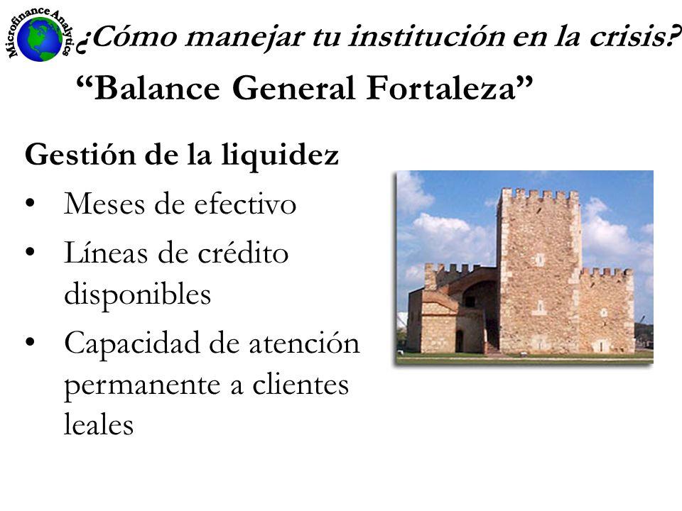 ¿ C ómo manejar tu institución en la crisis? Balance General Fortaleza Gestión de la liquidez Meses de efectivo Líneas de crédito disponibles Capacida