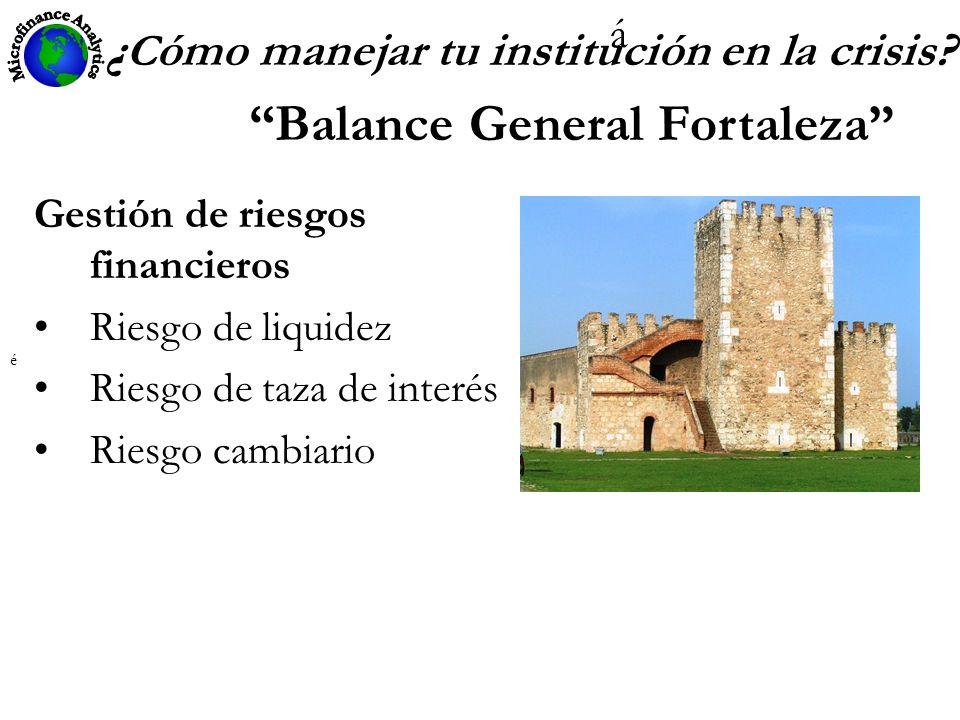 ¿ C ómo manejar tu institución en la crisis? Balance General Fortaleza Gestión de riesgos financieros Riesgo de liquidez Riesgo de taza de interés Rie
