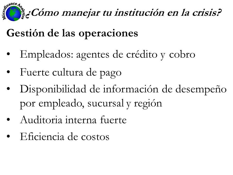 ¿C ó mo manejar tu institución en la crisis? Gestión de las operaciones Empleados: agentes de crédito y cobro Fuerte cultura de pago Disponibilidad de