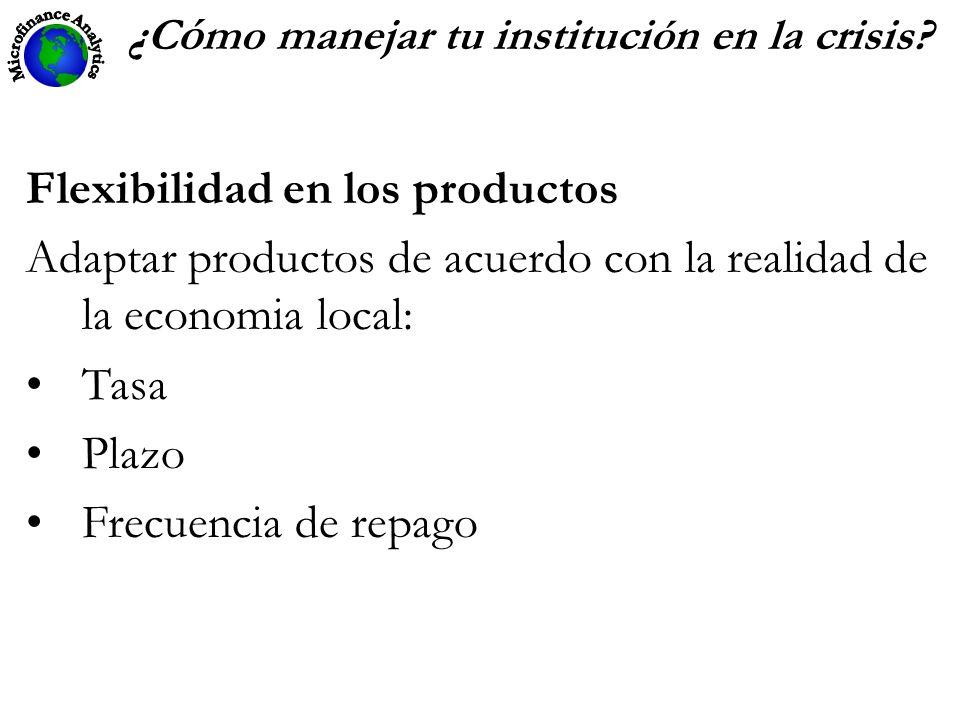 ¿C ó mo manejar tu institución en la crisis? Flexibilidad en los productos Adaptar productos de acuerdo con la realidad de la economia local: Tasa Pla