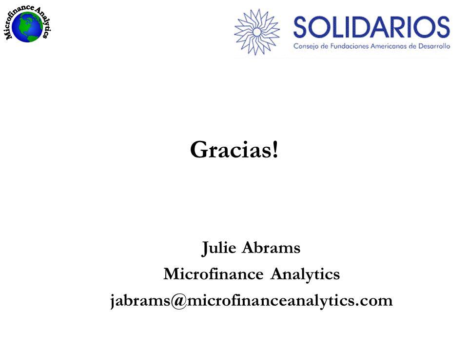 Gracias! Julie Abrams Microfinance Analytics jabrams@microfinanceanalytics.com
