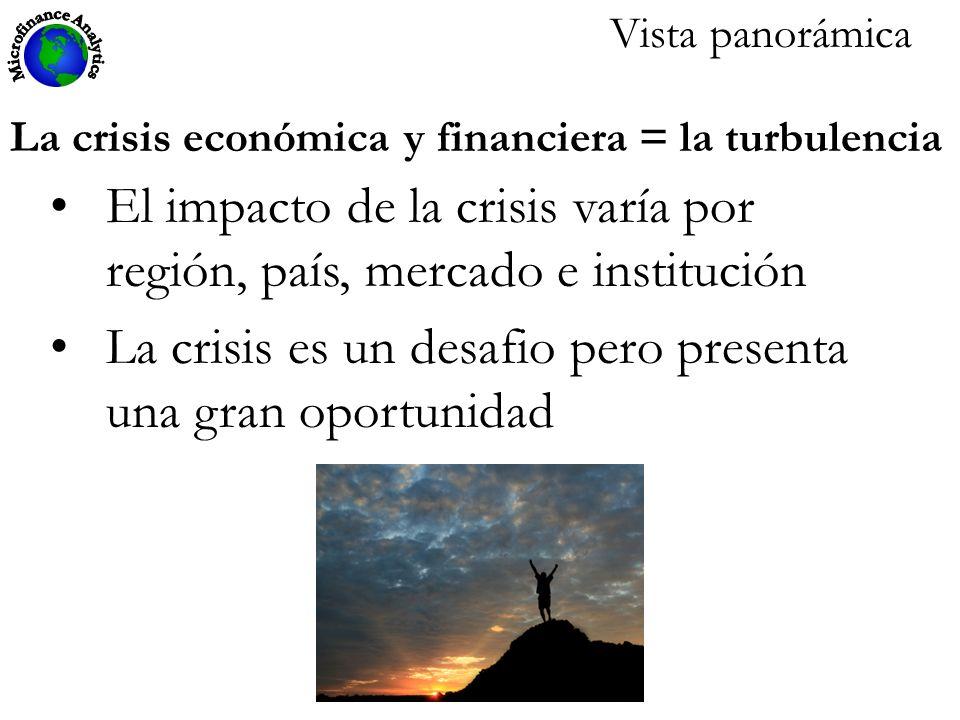 El impacto de la crisis varía por región, país, mercado e institución La crisis es un desafio pero presenta una gran oportunidad La crisis económica y financiera = la turbulencia Vista panorámica